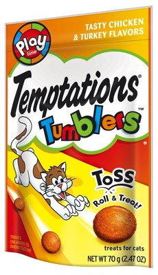 Temptations Brand Shakes Up Treat Time and Rolls Out New Temptations Tumblers(TM) Treats For Cats. (PRNewsFoto/Mars Petcare US)