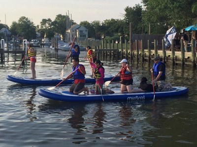 Injured veterans recently prepared for a monster stand-up paddleboarding competition at a program gathering with Wounded Warrior Project in Middle River, Maryland.