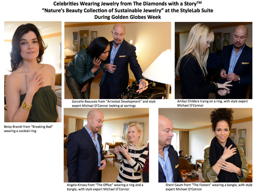 """Celebrities And Their Stylists Previewed Jewelry From The Diamonds With A Story(TM) """"Nature's Beauty Collection Of Sustainable Jewelry"""" At Stylelab's Suite During Golden Globes Week. (PRNewsFoto/StyleLab) (PRNewsFoto/STYLELAB)"""