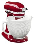 The new KitchenAid(R) Ceramic Bowl fits 4.5-quart and 5-quart stand mixer models and features a unique embossed diamond pattern with a Matte White finish.