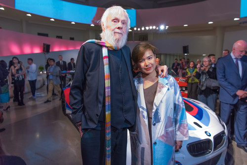 John Baldessari and Cao Fei, the new BMW Art Car artists, at the announcement event at the Guggenheim Museum, ...