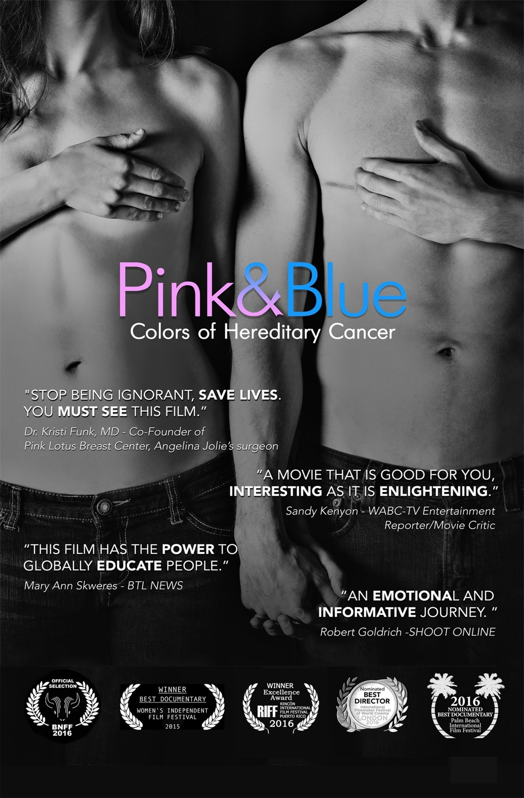 Angelina Jolie provided global awareness about BRCA genetic mutations and increased cancer risks for women. Pink & Blue: Colors of Hereditary Cancer picks up where Angelina left off, highlighting increased cancer risks for men who carry a BRCA genetic mutation.