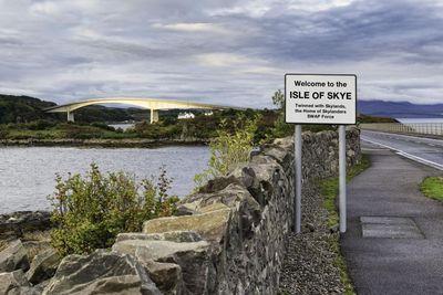 Isle of Skye 'virtually' twins with Skylands, home of Skylanders SWAP Force Artist's Image of a Twinning sign by Skye Bridge (PRNewsFoto/VisitScotland)