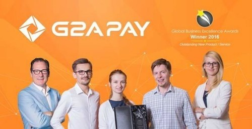 Some members of the G2A Pay Team with The Global Excellence Awards 2016 for Outstanding New Product/Service. ...