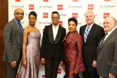 b michael AMERICA CEO Mark-Anthony Edwards, Condola Rashad, designer B Michael, Phylicia Rashad, Infor's CMO Chip Coyle and Sr. Product Director Bob McKee on the red carpet b michael AMERICA  New York Fashion Week show sponsored by Infor Fashion.