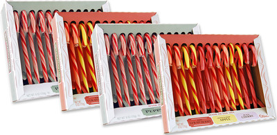 New SweetNature(TM) Candy Canes from Spangler Candy Company are made with 100% natural flavors and no artificial colors. Available in two flavor packs: traditional red and white Peppermint and Assorted Fruit. (PRNewsFoto/Spangler Candy Company) (PRNewsFoto/SPANGLER CANDY COMPANY)