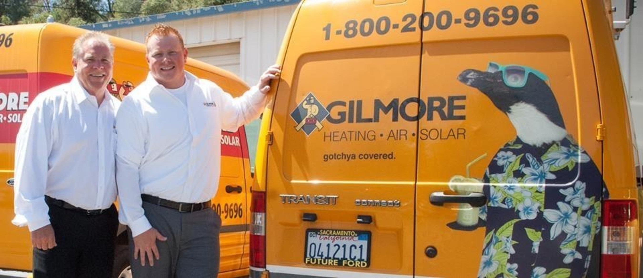 """Gilmore Heating, Air, Solar, a family-owned and operated company, serves the Sacramento area. John Gilmore (l), and son, Darrin, GM, are dedicated to """"Get More with Gilmore"""" motto."""