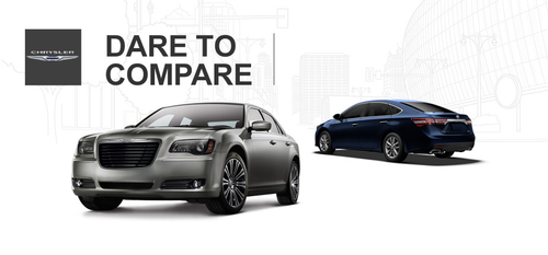 The 2014 Chrysler 300 and 2014 Toyota Avalon compare their capabilities at Ingram Park CDJ.  (PRNewsFoto/Ingram Park CDJ)