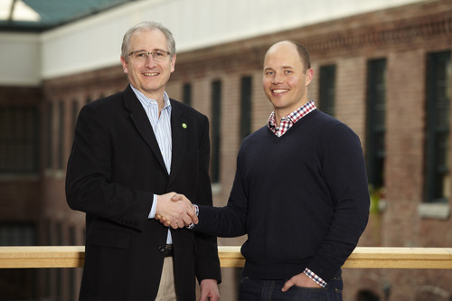 Scott Griffith, Zipcar chairman and CEO (left), and Jeff Miller, founder and CEO of Wheelz,  announce ...