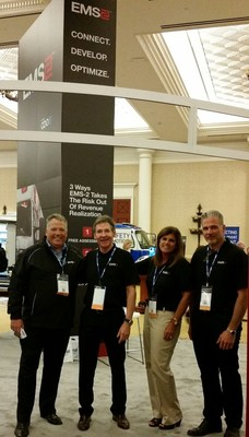 Mike Poulos--COO, Don Johnson--VP Marketing, Jean Davis--Director Operations and Frank Mahony CIO of CDO Squared captivated AAA show attendees with new 20 by 20 booth. Interest in new EMS-2 product was overwhelming.