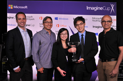 Microsoft CEO Satya Nadella awards Imagine Cup World Champion team Eyenaemia from Australia along with Erick Martin, general manager of Reddit.com and Hadi Pavarti, co-founder of Code.org.