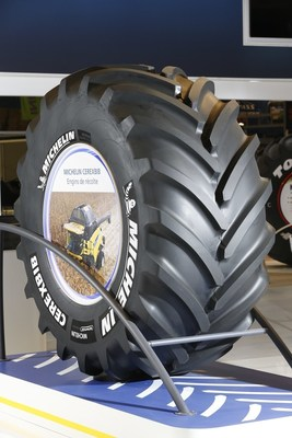 The new MICHELIN CerexBib tire.is designed for large combines and grain carts.  It is one of Michelin's Very High Flexion (VF) tires which is  a class of agricultural tires designed to handle bigger and heavier farm equipment that has a greater ability to flex under increased loads than standard radials.