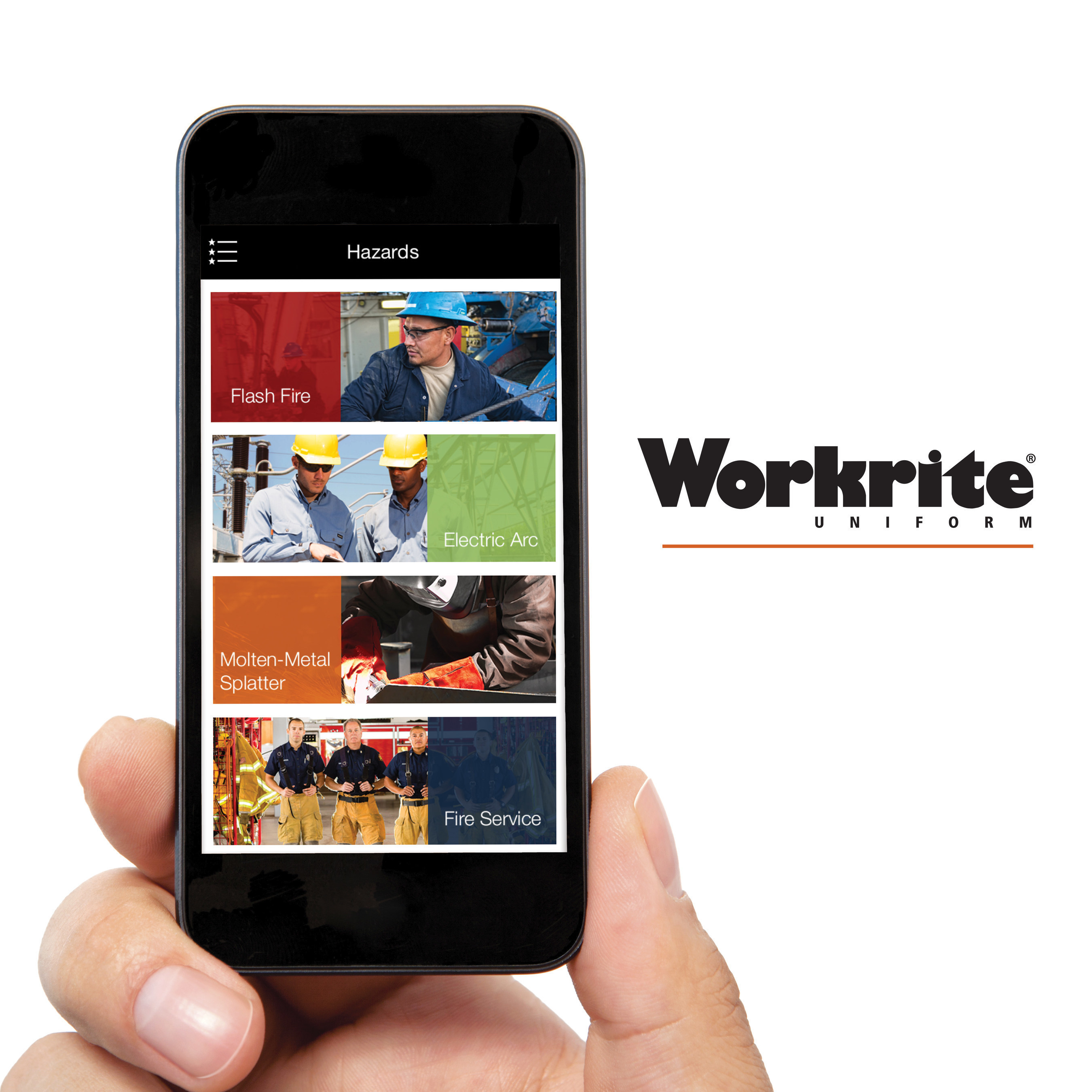 """Workrite Uniform's """"FR Clothing"""" app showcases information on each of the major hazards in flame-resistant apparel industry."""