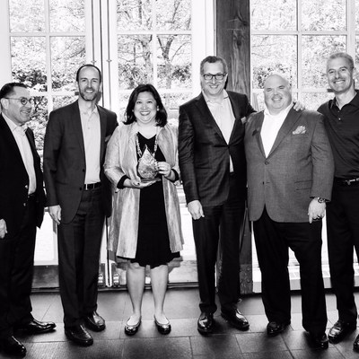 Anna Liza Montenegro, Director of Marketing, accepts the Autodesk Platinum Club Award for Channel Marketing on behalf of the Microsol Resources' Team at the Autodesk Platinum Club Reception in New York City on May 5, 2015.