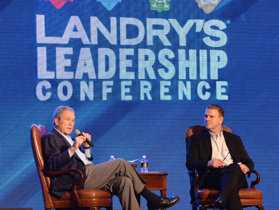 President George W. Bush speaks with Tilman J. Fertitta, President, Chairman and Sole Owner of Landry's, Inc. at the Landry's Annual Leadership Conference
