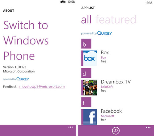 Quixey Powers Switch to Windows Phone App, Allowing Easy Transition to new Windows Phones.  (PRNewsFoto/Quixey)