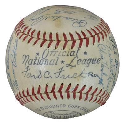 """1951 Brooklyn Dodgers team-signed baseball signed by Jackie Robinson, Duke Snider, Gil Hodges, Pee Wee Reese, Don Newcombe and others. The baseball is one of more than 800 sports collectibles that will be auctioned on March 19 & 20 at J. Levine Auction & Appraisal in Scottsdale, Arizona as part of """"Sid Stern's Lifetime Sports Memorabilia Auction."""" www.jlevines.com"""