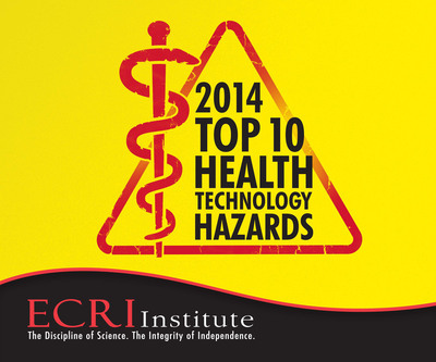 Each year, ECRI Institute, an independent nonprofit that researches the best approaches to improving patient care, offers an invaluable patient safety service to the healthcare community. The just-released 2014 Top 10 Health Technology Hazards list raises awareness of the potential dangers associated with the use of medical devices and helps healthcare providers minimize the risk of technology-related adverse events. The 2014 list highlights the top 10 safety topics that warrant particular attention for the coming year. A 16-page executive briefing about the hazards is available for free download at www.ecri.org/2014hazards.  (PRNewsFoto/ECRI Institute)