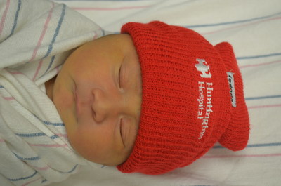 At Huntington Hospital, all babies born during February receive red beanies, bringing awareness to heart disease in women.