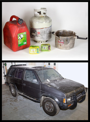 This 1993 Nissan Pathfinder was rigged to explode in New York's Times Square in 2010. Inside the SUV was a homemade bomb that failed to explode, which included this gas can, propane tank, pressure cooker pot and these alarm clocks. Photos: Amy Joseph/Newseum; artifacts: Loan, FBI
