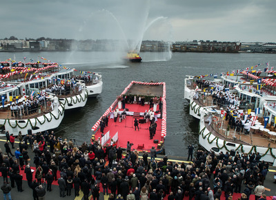 "Viking River Cruises sets a Guinness World Record for ""The Most Ships Inaugurated in One Day by One Company"" with the simultaneous christening of 10 new Viking Longships on March 20 in Amsterdam.  (PRNewsFoto/Viking River Cruises)"
