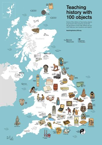Teaching history with 100 objects, map resource showing objects from 40 museums across the UK. Â(C) The Trustees of the British Museum. (PRNewsFoto/TES Global)