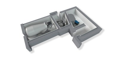 3D illustration about Neutron Therapeutics' nuBeam BNCT suite with radiation shielding. Proton accelerator on the left, neutron producing target in the middle and the treatment room on the right. (PRNewsFoto/Neutron Therapeutics)