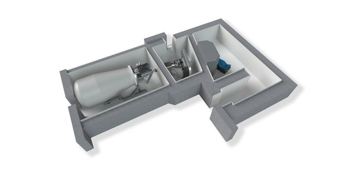 3D illustration about Neutron Therapeutics' nuBeam BNCT suite with radiation shielding. Proton accelerator ...