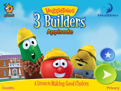 DreamWorks Animation and Plumzi release the groundbreaking interactive appisode VeggieTales Appisode: 3 Builders.  (PRNewsFoto/DreamWorks Animation)