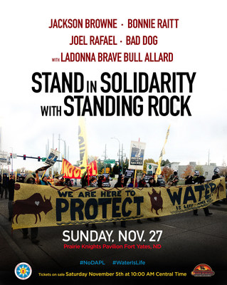 Jackson Browne And Bonnie Raitt Benefit Concert At Standing Rock To Stand In Solidarity With Standing Rock - Sunday, November 27, 2016 at Prairie Knights Pavilion in Fort Yates, ND