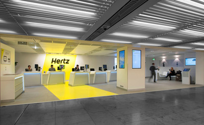 Hertz brings its global car rental revolution to Frankfurt Airport with a high tech makeover and customer-focused innovations at its T1 and T2 locations. Making every vehicle booking, pick up and return a pleasant and efficient process, the locations fully enhance the Hertz customer experience.  (PRNewsFoto/The Hertz Corporation)
