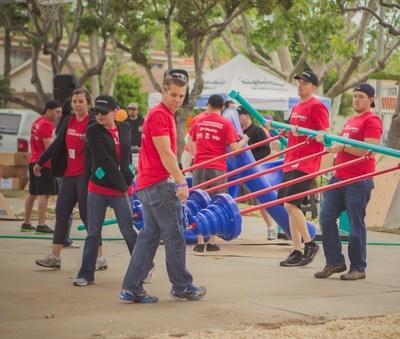 Yokohama Tire and KaBOOM! volunteers helped build a new playground for kidsin Southern California in 2015. A new KaBOOM! playground will be built inRockland, MA on June 25 with Yokohama and Sullivan Tire.