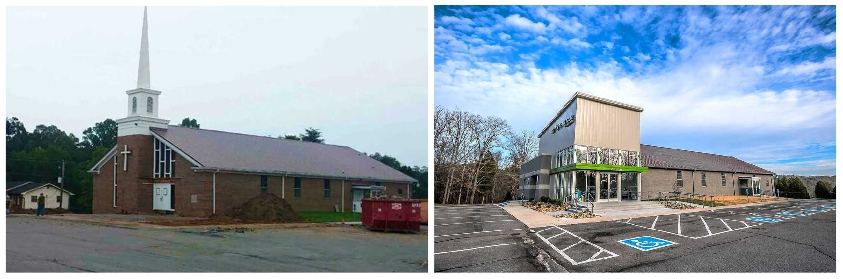 A before and after look at the Worship Facilities 2016 Solomon Award winning Northstar Church, designed by Studio Four Design and located in Knoxville, Tennessee.