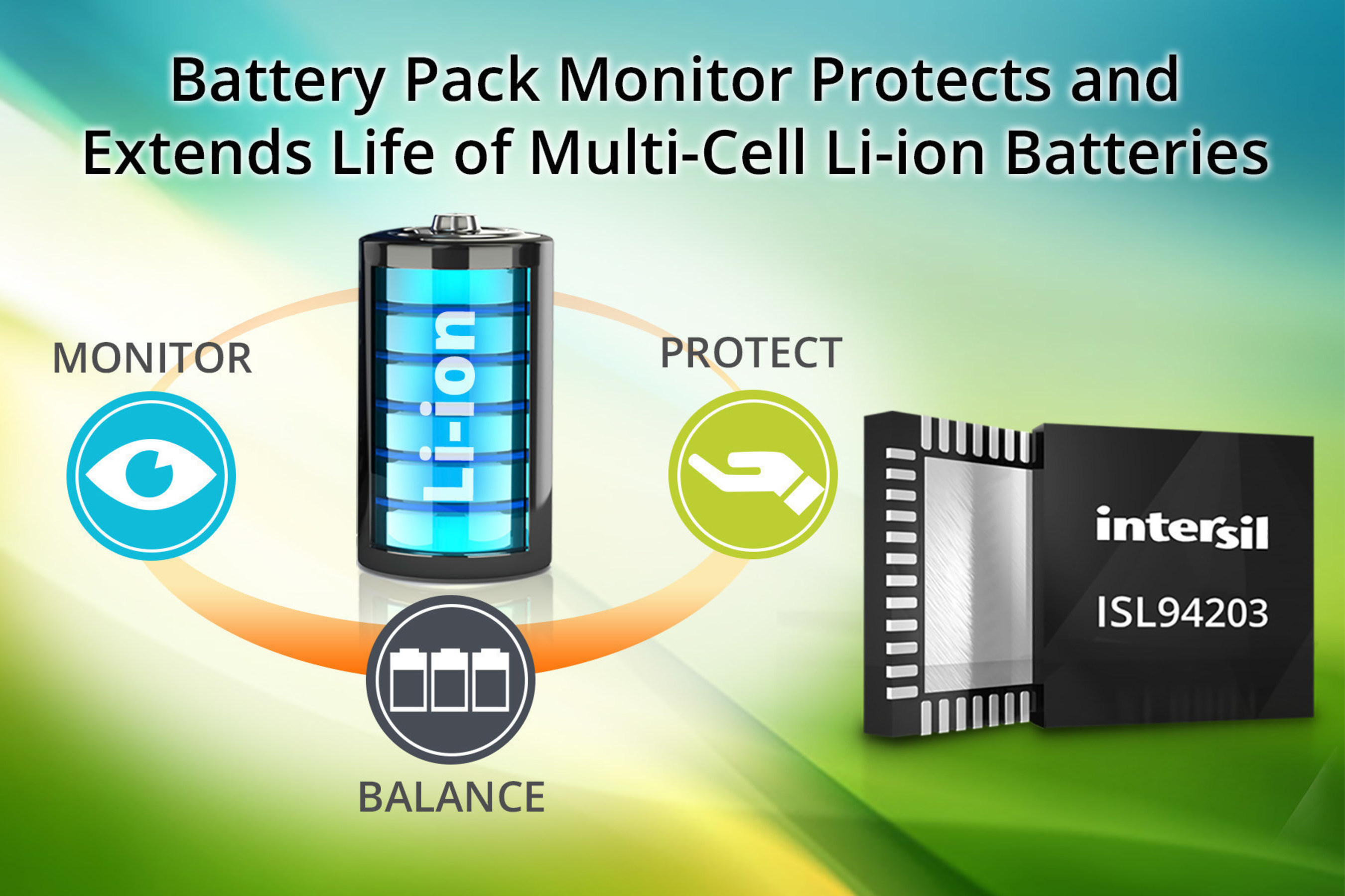 ISL94203 accurately monitors, protects and cell balances Li-ion battery packs to extend battery life.