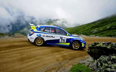 Subaru Rally Team USA Driver David Higgins Sets Mt. Washington Hill Climb Record.  (PRNewsFoto/Subaru of America, Inc.)