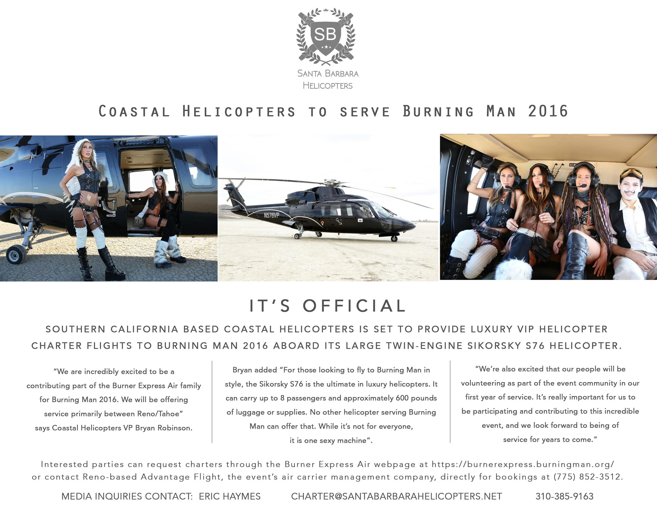 Luxury VIP helicopter charter flights to Burning Man 2016