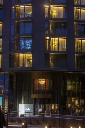 """Facade of The Thief including room 410 where the """"Russian Kiss"""" video is screened in loop during the Olympics (PRNewsFoto/LLH)"""