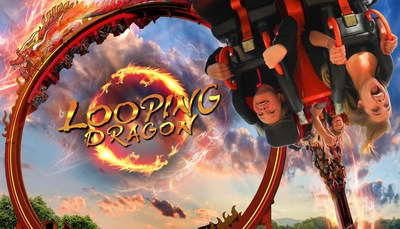 """Six Flags Great Adventure debuts Looping Dragon in 2015. This thrill ride rockets riders forward and backward through a 360-degree loop and delivers moments of  """"hang time,"""" suspending riders upside down. (PRNewsFoto/Six Flags Great Adventure)"""