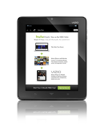 VIZIO Tablet owners can get even more Entertainment Freedom(TM) with three months free of the Hulu Plus subscription service.  (PRNewsFoto/VIZIO, Inc.)
