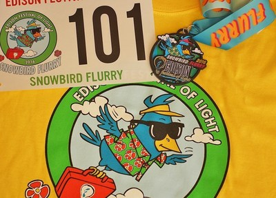 Edison Festival of Light's Snowbird Flurry 5K T-shirt, medal and race bib