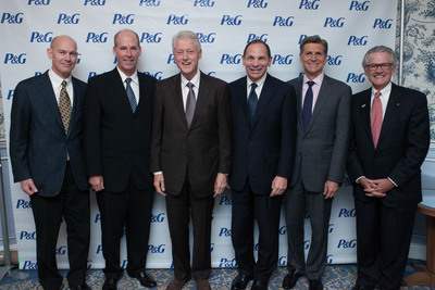 Pictured from left to right: Kevin Jenkins, President of World Vision International; Greg Allgood, P&G CSDW;  President Clinton; Bob McDonald, P&G CEO; Marc Pritchard, P&G BBO; Curtis Welling, AmeriCares CEO.  (PRNewsFoto/World Vision U.S.)