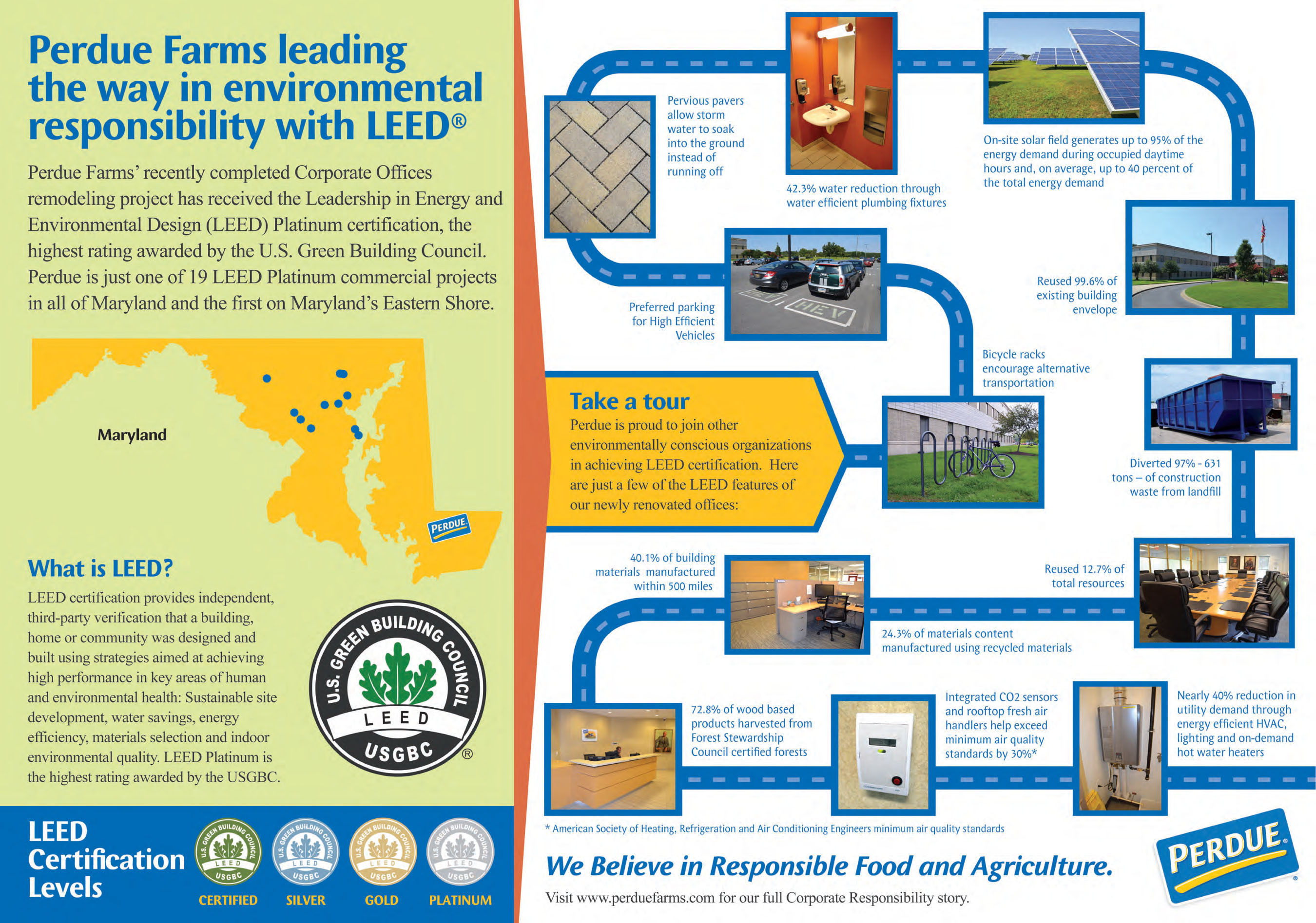 Perdue Farms has received LEED Platinum certification -- the highest possible ranking -- for the renovation of ...