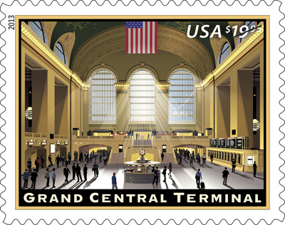 The U.S. Postal Service commemorated the 100th anniversary of a New York City landmark by dedicating the Grand Central Terminal Express Mail stamp in the Main Concourse, under the constellation ceiling. Available nationwide today, customers may purchase the new $19.95 stamp at usps.com/stamps, by phone at 800-STAMP24 (800-782-6724) or at a local Post Office. The stamp is good for mailing Express Mail Flat Rate Envelopes, Express Mail Padded Flat Envelopes and Express Mail Legal Flat Rate Envelopes.  (PRNewsFoto/U.S. Postal Service)