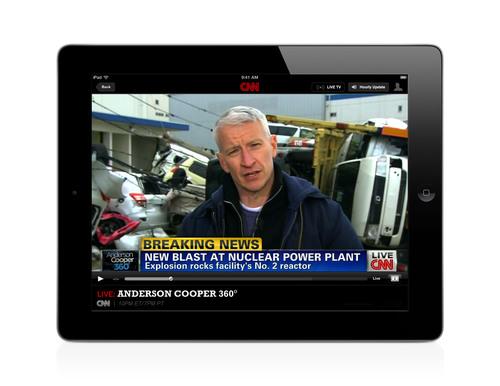 CNN's live network streaming on the CNN app for iPad.  (PRNewsFoto/CNN)