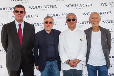 James Packer, Robert De Niro, Chef Nobu Matsuhisa, and Meir Teper break ground on Nobu Hotel Chicago. Photo Credit: Francis Son Photography