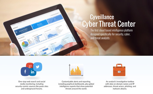 The Cyveillance Cyber Threat Center combines web search, social media monitoring, global intelligence reports, and a suite of investigative tools and databases in an easy-to-use, cloud-based portal.  Professionals who are responsible for physical and IT security, incident response, cyber investigations, and online compliance can distill information from thousands of sources outside the firewall into useable intelligence, tailored for their business needs.  The Center gives organizations access to the same powerful sources, tools and databases already used by Cyveillance analysts, as well as extensive data for cyber investigations and better intelligence. (PRNewsFoto/Cyveillance)