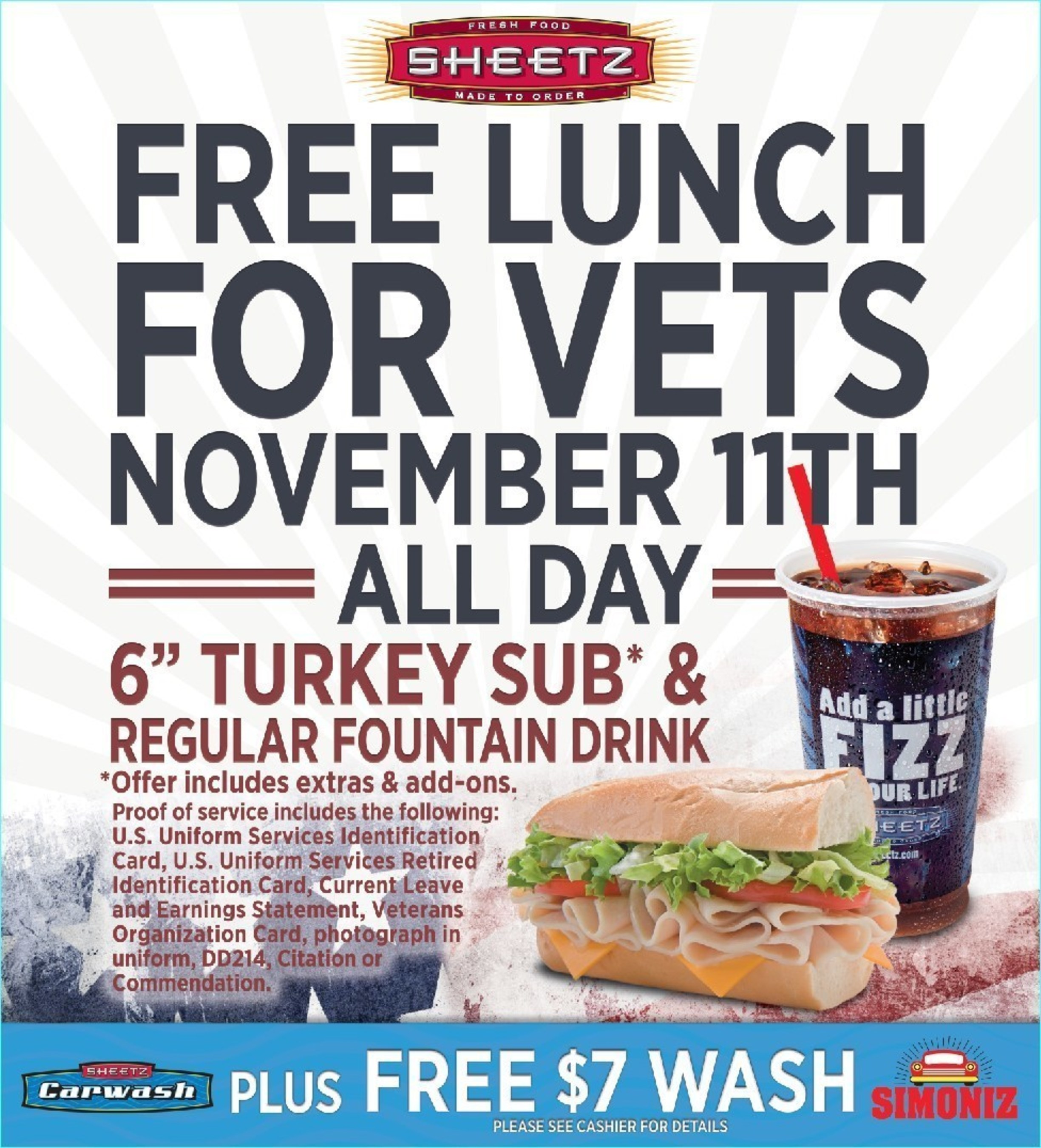 Sheetz Veterans Day Offer for veterans and active duty military personnel.