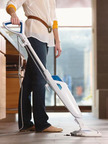 Using heat, water & a built-in scrubber, the BISSELL PowerFresh cleans tough messes from hard floors.  (PRNewsFoto/BISSELL Homecare, Inc.)