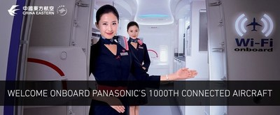 A China Eastern Airlines' B777-300 is the 1,000th commercial aircraft operating on Panasonic's Global Communications Services network. (PRNewsFoto/Panasonic Avionics Corporation)