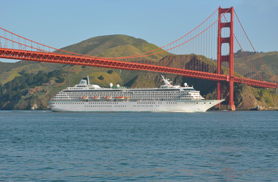 Crystal Cruises' April to May Pacific Coast cruise includes a stop in San Francisco, sailing underneath the Golden Gate Bridge.  (PRNewsFoto/Crystal Cruises)